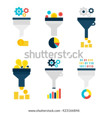 Funnel Chart Flat Objects Set isolated over White. Flat Design Vector Illustration. Collection of Data Filter Items. Funnel Conversion. - stock vector