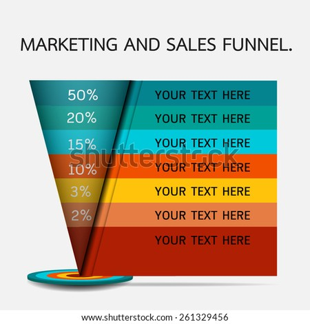 Funnel for presentation or infographics.  - stock vector