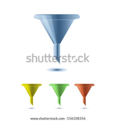 funnel icons - stock vector