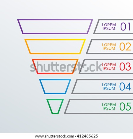 marketing pipeline template - funnel outline infographics template 5 steps stock vector