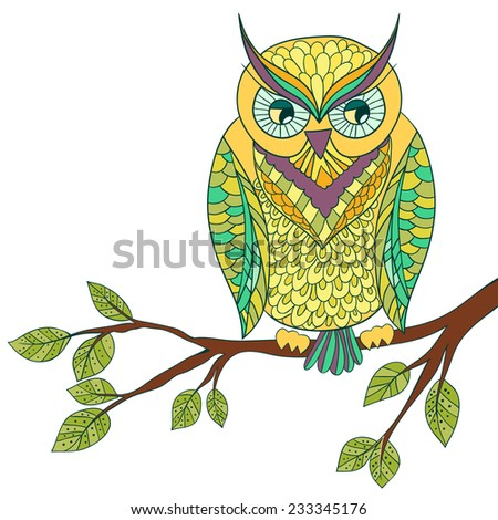 Funny abstract owl on the brunch with leaves - stock vector