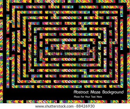funny abstract vector background with structure crazy maze and place for your text - stock vector