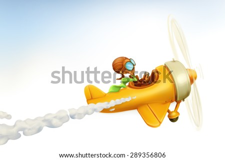 Funny airplane, vector cartoon isolated on white background - stock vector