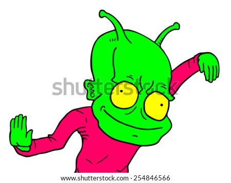 Funny alien - stock vector