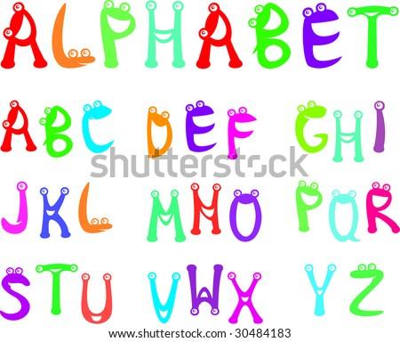 Funny alphabet for kids - stock vector