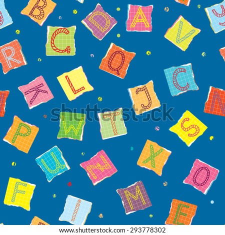 Funny alphabet seamless pattern for kids - stock vector