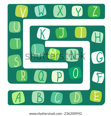 Funny alphabet. Vector illustration of a board game with the alphabet - stock vector