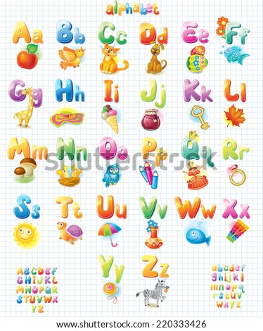 Funny Alphabet with pictures for children  - stock vector