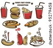 funny american fast food, vector collection of food icons - stock vector