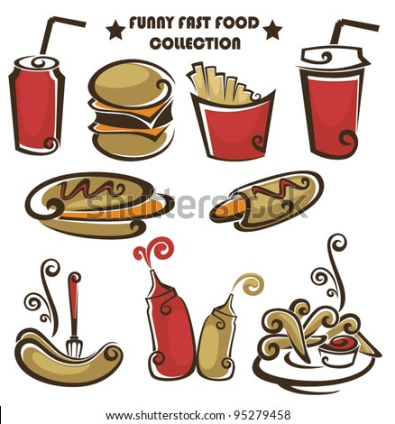 funny american fast food, vector collection of food icons