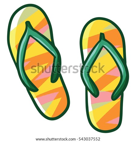 Funny and bright colorful sandals cartoon - vector.