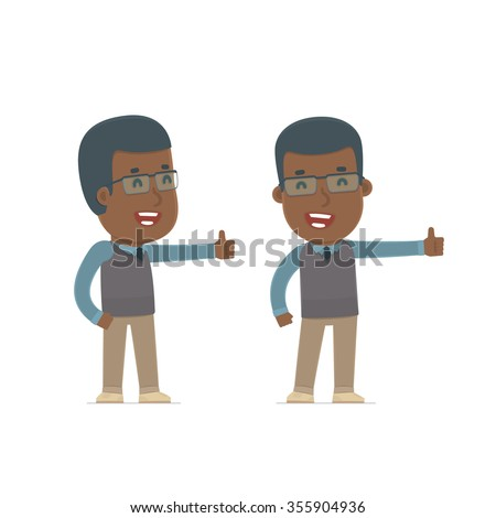 Funny and cheerful Character African American Teacher showing thumb up as a symbol of approval. for use in presentations, etc. - stock vector
