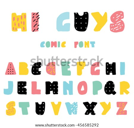 Funny and cute cartoon style alphabet in blak, pink, blue and mint green colors. Can be used for modern greeting cards, posters, web and print, tshirts and canvas tote design