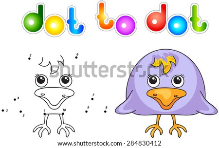 Funny and cute crow. Vector illustration for children. Dot to dot game - stock vector