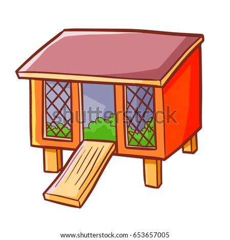 Funny cute red rabbit hutch cartoon stock vector 653657005 for Rabbit house images