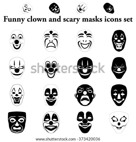 Funny and scary masks simple icons set - stock vector