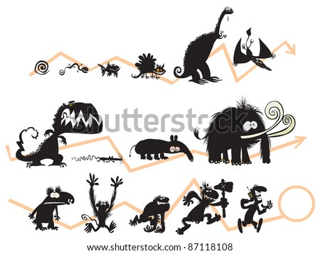 Funny Animal and Human Silhouettes on the Evolution scale. - stock vector