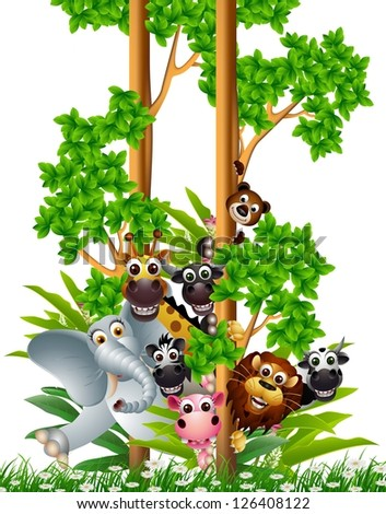 funny animal cartoon collection - stock vector