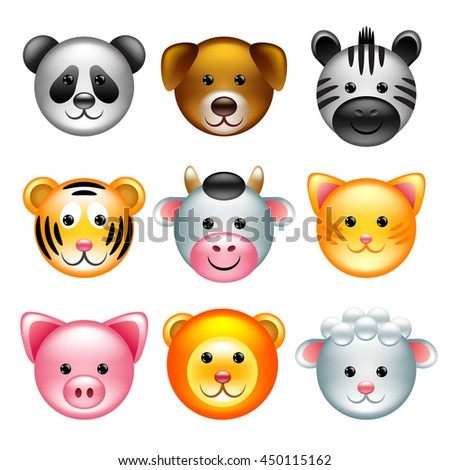Funny animal faces icons detailed vector set - stock vector