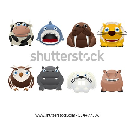 Funny animal icons over white background - stock vector