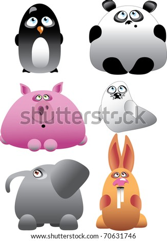 Funny Animal Set Vector Illustration - stock vector