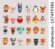 Funny Animal Vector illustration Icon Set  - stock