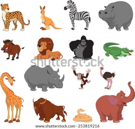 Funny animals - stock vector