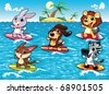 Funny animals are surfing in the sea. Cartoon and vector illustration, isolated objects. - stock photo