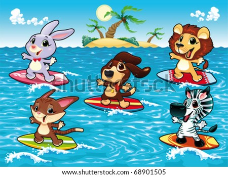 Funny animals are surfing in the sea. Cartoon and vector illustration, isolated objects. - stock vector
