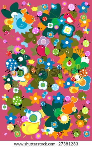funny animals background - stock vector
