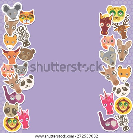 Funny Animals card template. lilac background, template for your design. Vector - stock vector