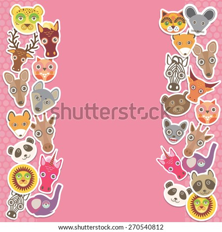 Funny Animals card template. pink background, template for your design. Vector - stock vector