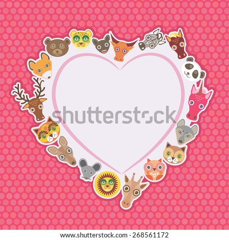 Funny Animals card template. White heart on pink Polka dot background. Vector - stock vector