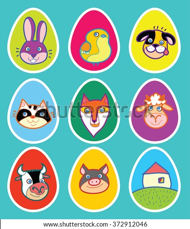 Funny animals cartoons on eggs - Easter sticker, tag, sign. Farm animals and forest fox,  Easter bunny and chicken, kitten and poppy heads. Vector set of childish Easter illustrations. - stock vector