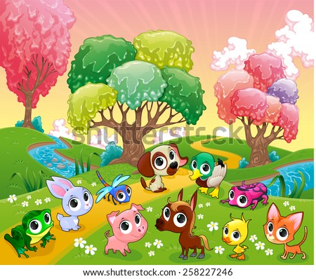 Funny animals in the magic wood. Cartoon vector illustration. - stock vector