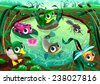 Funny animals in the pond. Cartoon vector illustrations. - stock vector