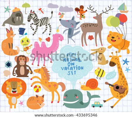 funny animals on notebook sheet - stock vector