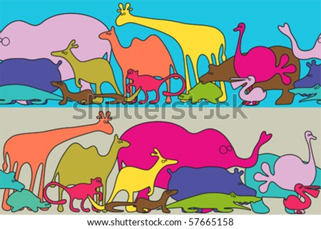 Funny animals seamless pattern - stock vector