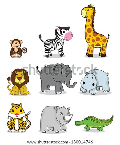 funny animals set - stock vector