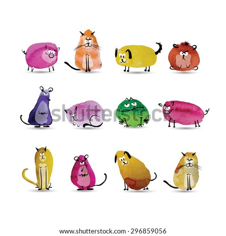 Funny animals set. Watercolor sketch for your design. Vector illustration - stock vector
