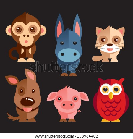 Funny Animals vector illustration - stock vector