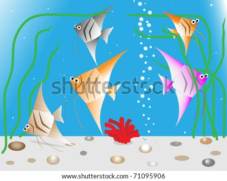 Funny aquarium fishes - stock vector