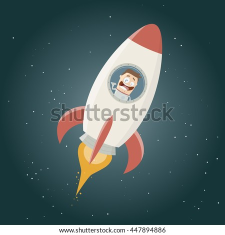 funny astronaut flying in a space rocket - stock vector