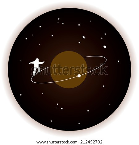 funny astronaut space walk series vector illustrate graphic art - stock vector