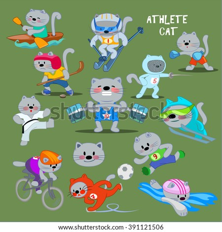 Funny athlete cat clip art set. Icons. Sport. Vector illustration.