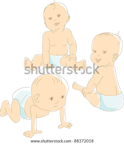 Funny babies in diapers, different positions - crawling, sitting, looking. Artistic vector illustration - stock vector