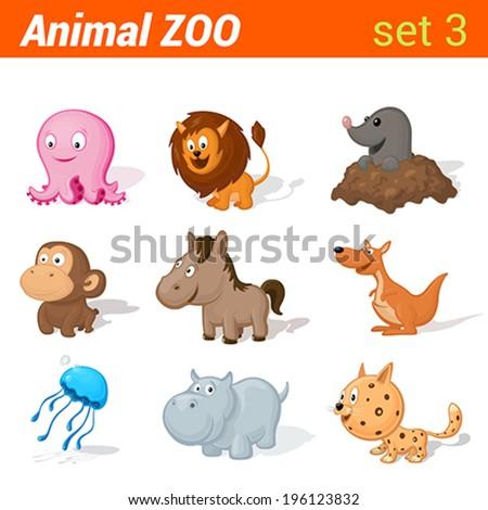Funny baby animals icon set. Kid language learning elements. Octopus, horse, mole, monkey, lion, kangaroo, jellyfish, hippo, leopard.  Animal Zoo collection. - stock vector