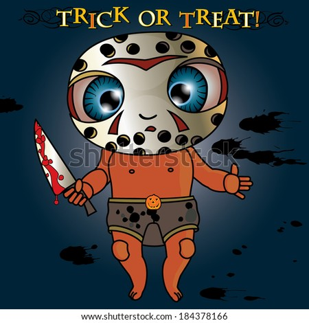 funny baby boy in scary carnival costume with a knife for Halloween