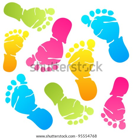 Funny baby foot prints - stock vector