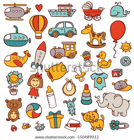 funny baby toys doodle  set. vector  collection of hand drawn toys icons for baby shower or scrapbook or for  icons